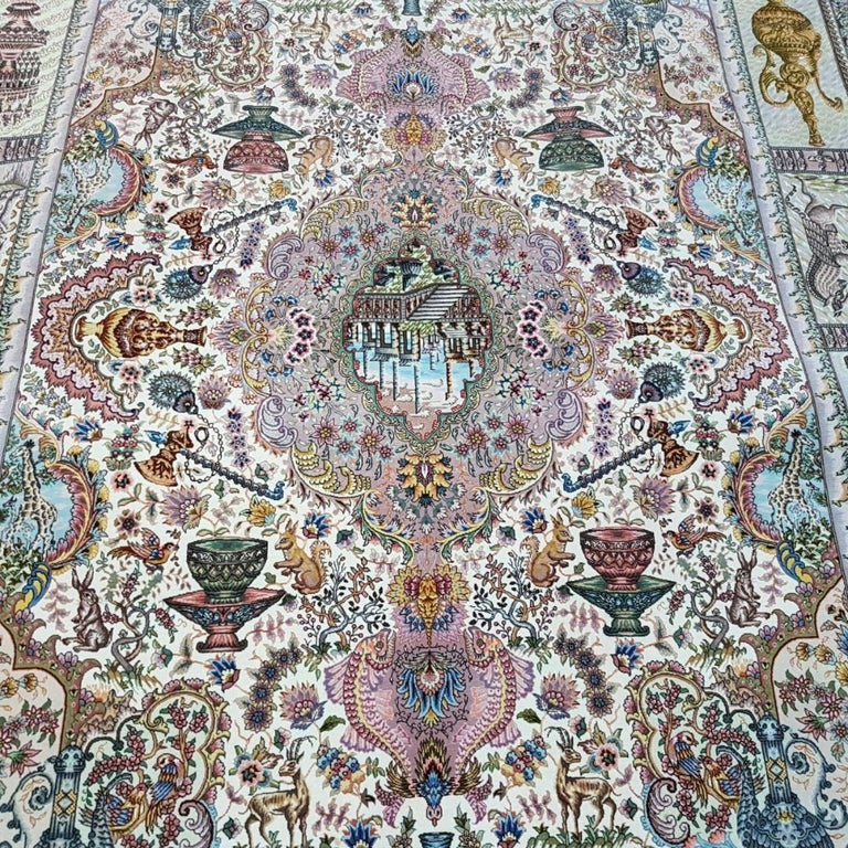 Naami Zir Khaki (Maralan Tabriz)-Genuine Hand-Knotted Persian Tabriz Rug Carpet In Excellent Condition For Sale In Cremorne, AU