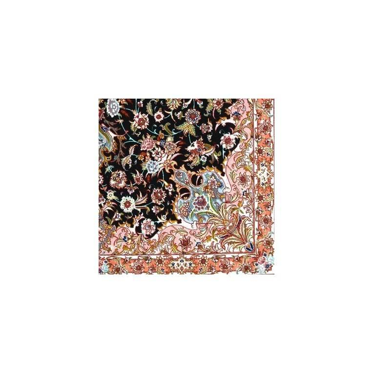 Contemporary Garden, Hand-Knotted Silk and Wool Genuine Persian Tabriz Rug/Carpet For Sale