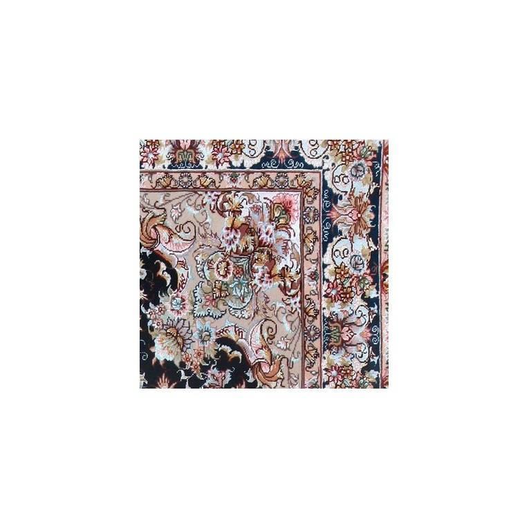 Khatibi Black-Master Khatibi Genuine Persian Tabriz Rug or Carpet 4