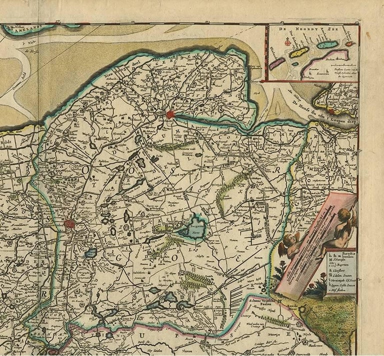 Antique Map of Friesland 'the Netherlands' by F. De Wit, circa 1730 In Good Condition For Sale In Langweer, NL