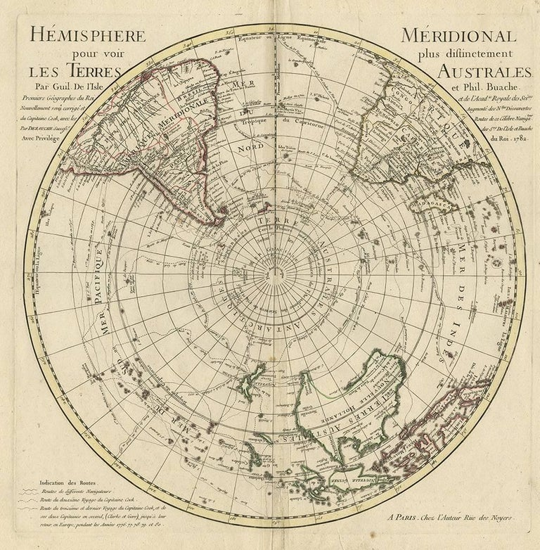 Hemispheres A World Of Fine Furnishings: Antique Map Of The Southern Hemisphere By G. De L'Isle