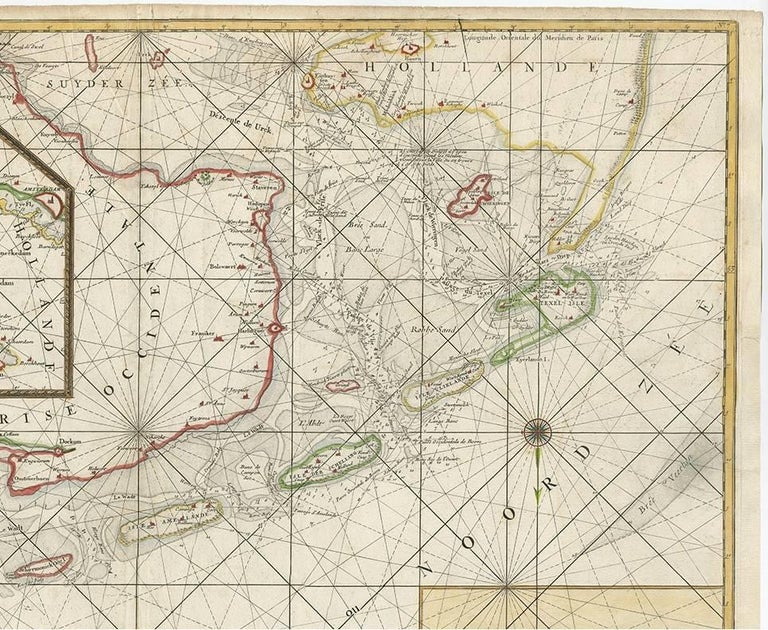 Antique Sea Chart of the Zuyder Zee 'The Netherlands' by H. van Loon, 1773 In Good Condition For Sale In Langweer, NL