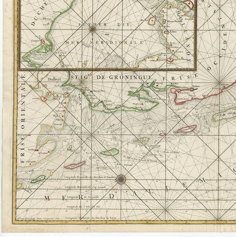 18th Century Antique Sea Chart of the Zuyder Zee 'The Netherlands' by H. van Loon, 1773 For Sale