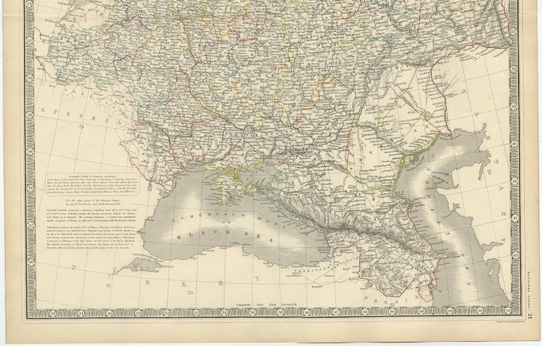 Antique Map of Russia 'in Europe' by W. & A.K. Johnston, circa 1850 In Good Condition For Sale In Langweer, NL