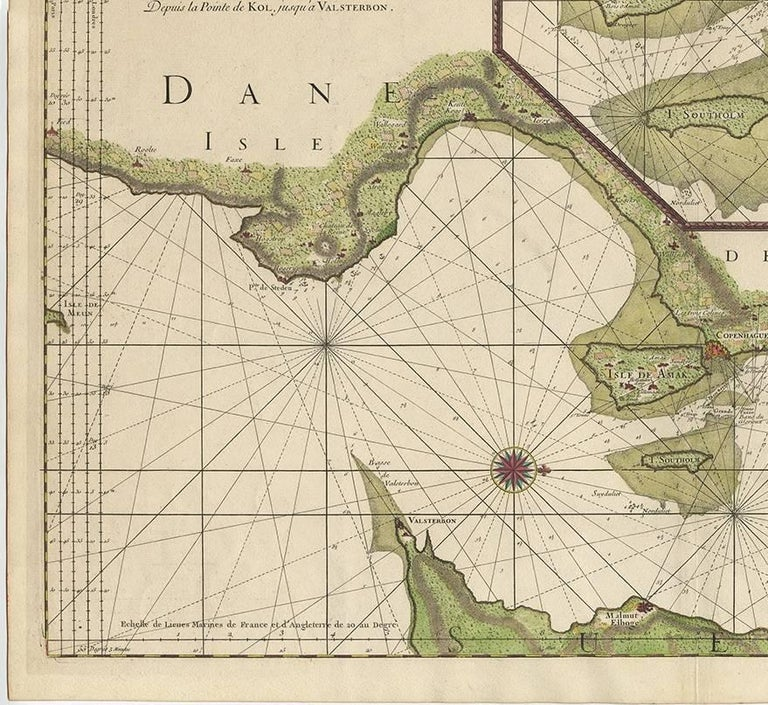 18th Century Antique Sea Chart of the coasts of Denmark and Sweden by C.A. Berey, 1720 For Sale