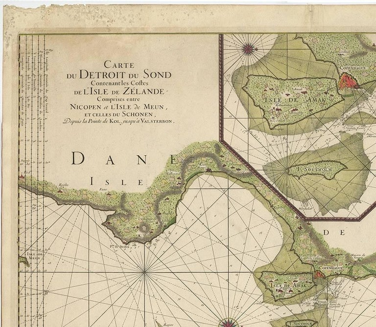 This beautiful large sea chart depicts the Oresund, which forms the border between Skane, Sweden and Sjaelland, Denmark. The chart is filled with navigational details and topographical information along the coastline. A large inset focuses on the