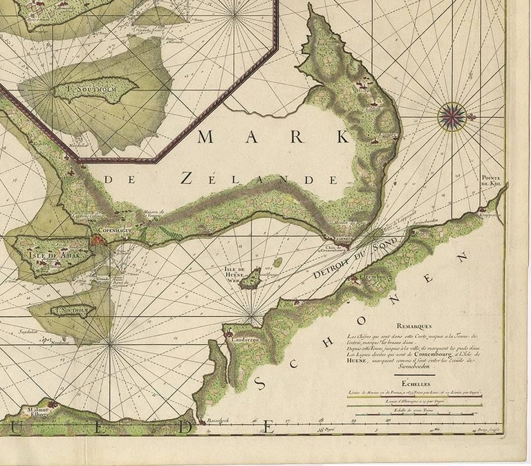 Paper Antique Sea Chart of the coasts of Denmark and Sweden by C.A. Berey, 1720 For Sale