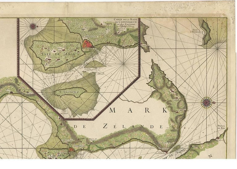 Antique Sea Chart of the coasts of Denmark and Sweden by C.A. Berey, 1720 In Good Condition For Sale In Langweer, NL
