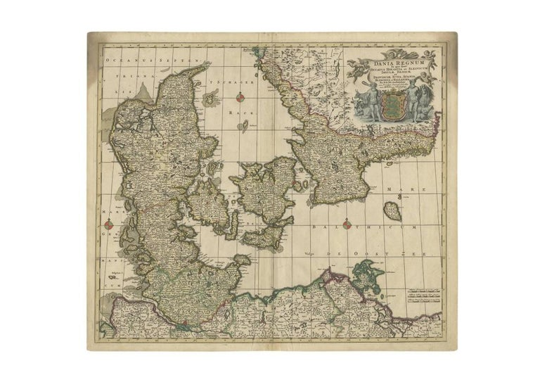 Antique map titled 'Dania Regnum'. Large, attractive map of Denmark, Sleschwig-Holstein and southern Sweden. Good detail throughout. Embellished with a title cartouche with the Danish coat of arms. Contemporary coloring.