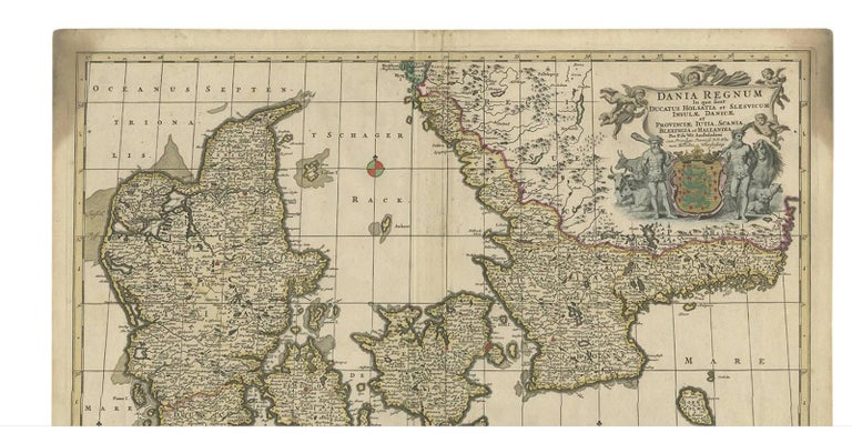 Antique Map of Denmark by F. de Wit, 1680 In Good Condition For Sale In Langweer, NL