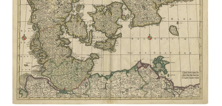 17th Century Antique Map of Denmark by F. de Wit, 1680 For Sale