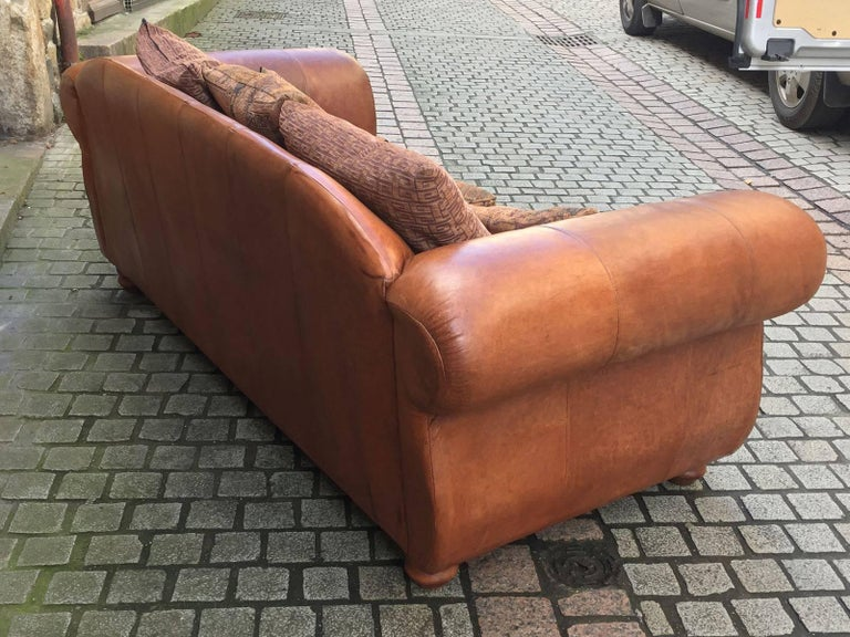20th century pair of leather sofas chesterfield for sale for Sofa 70 cm profundidad
