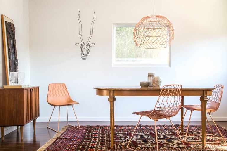 Galvanized Contemporary Wire Array Pendant in Copper by Bend Goods For Sale