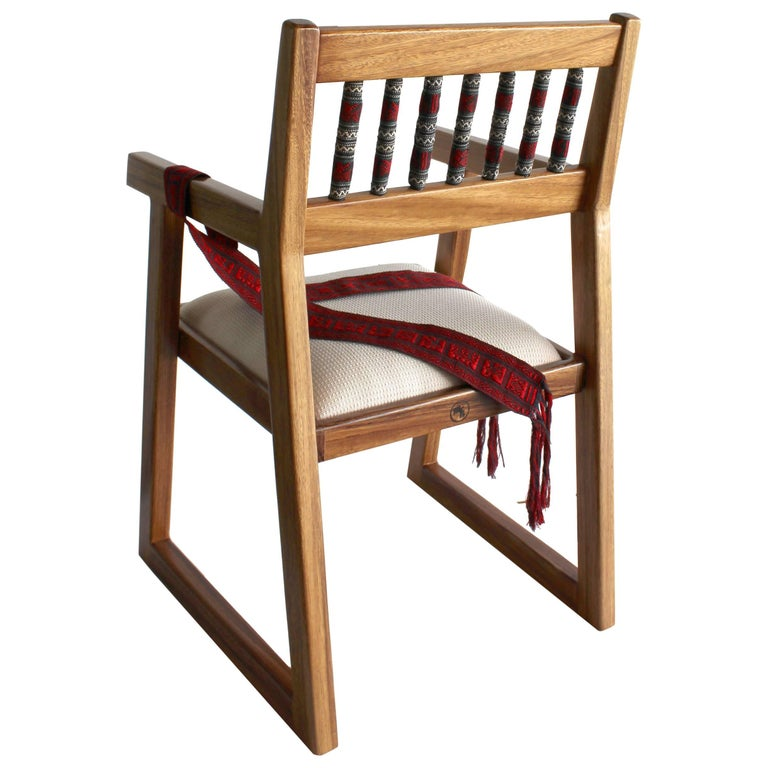 Handmade Mexican Contemporary Conacaste Solid Wood Armchair Indigenous Textiles For Sale