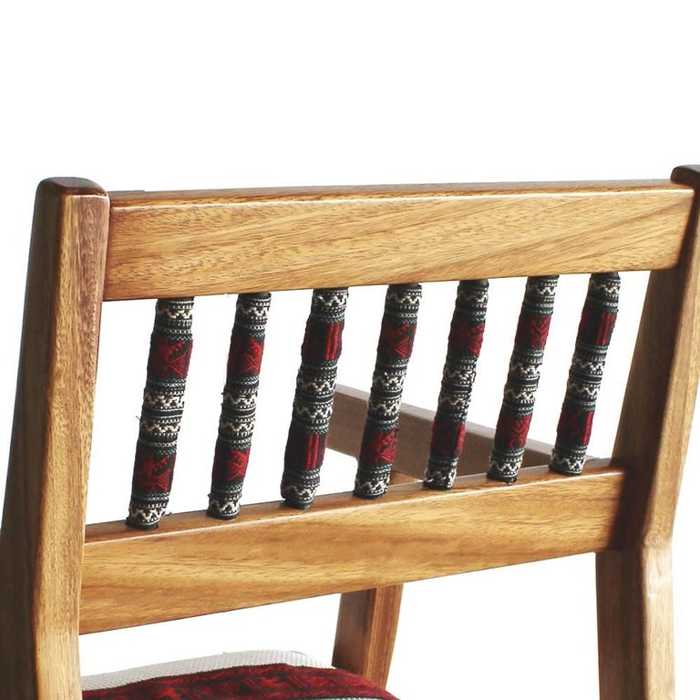 Hand-Crafted Handmade Mexican Contemporary Conacaste Solid Wood Armchair Indigenous Textiles For Sale