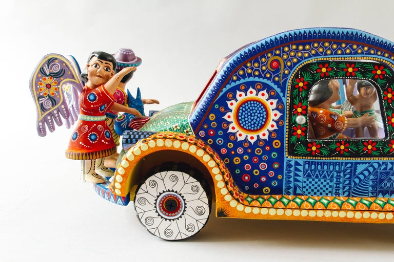 Mexican Folk Art Woodcarving Alebrije Nativity Set Beetle Traditional Art For Sale 1