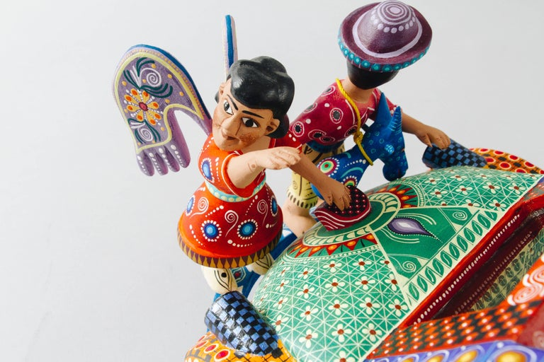 Mexican Folk Art Woodcarving Alebrije Nativity Set Beetle Traditional Art For Sale 3