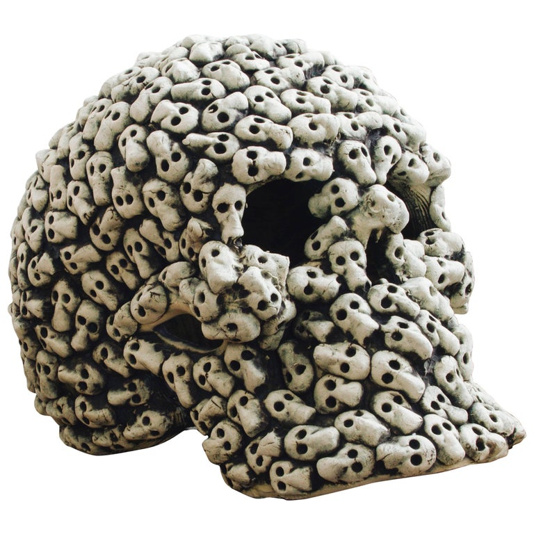 Mexican Ceramic Skull Sculpture Handcrafted Contemporary Art, Edition 2/30
