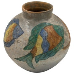 Mexican Ceramic Jug Vase Fishes 1996 Dolores Porras Folk Art Decorative Vessel