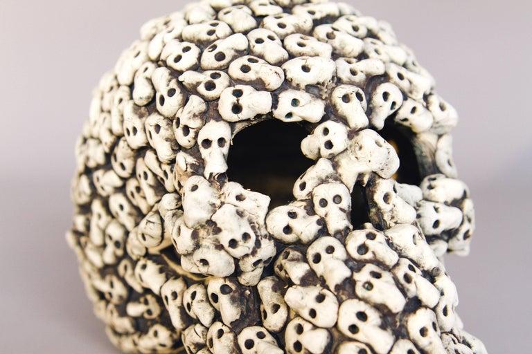 Organic Modern Mexican Ceramic Skull Sculpture Handcrafted Folk Art, Edition 2/30 For Sale