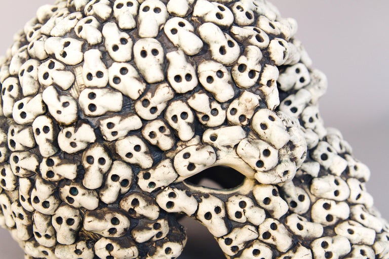 Stained Mexican Ceramic Skull Sculpture Handcrafted Folk Art, Edition 2/30 For Sale