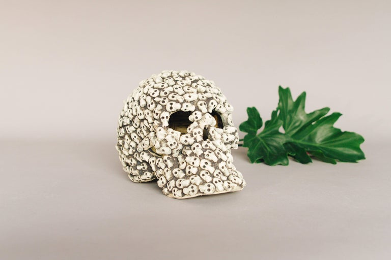 Mexican Ceramic Skull Sculpture Handcrafted Folk Art, Edition 2/30 For Sale 1