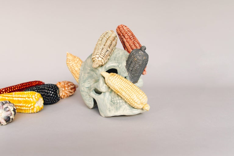Organic Modern Mexican Ceramic Corn Skull Sculpture Hand Crafted Folk Art, Edition 1/30 For Sale