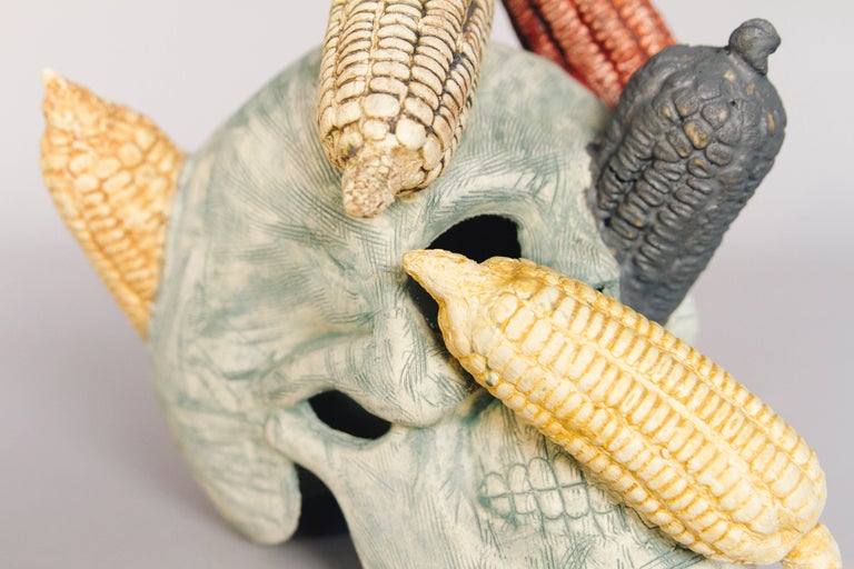 Mexican Ceramic Corn Skull Sculpture Hand Crafted Folk Art, Edition 1/30 In Excellent Condition For Sale In Queretaro, Queretaro