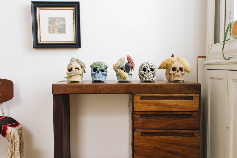 Clay Mexican Ceramic Skull Sculpture Handcrafted Folk Art, Edition 1/30 For Sale
