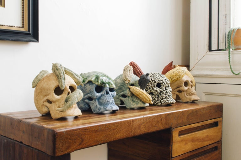 Mexican Ceramic Skull Sculpture Handcrafted Folk Art, Edition 1/30 For Sale 1