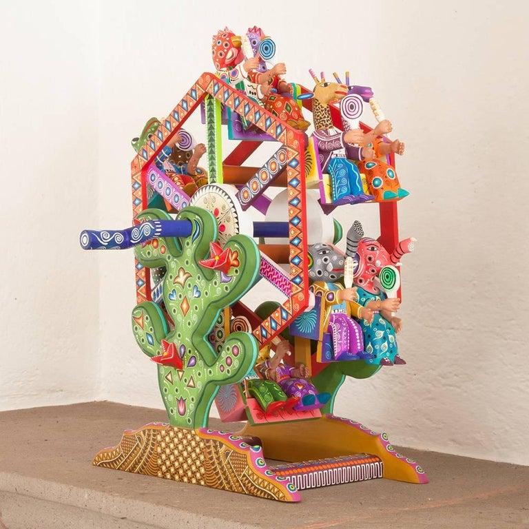 Mexican Folk Art Woodcarving Alebrijes Fortune Wheel Folkloric Art 2