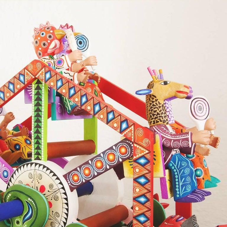 Mexican Folk Art Woodcarving Alebrijes Fortune Wheel Folkloric Art 3