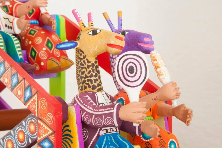 Mexican Folk Art Woodcarving Alebrijes Fortune Wheel Folkloric Art In Excellent Condition For Sale In Queretaro, Queretaro