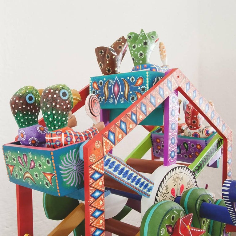 Mexican Folk Art Woodcarving Alebrijes Fortune Wheel Folkloric Art 5