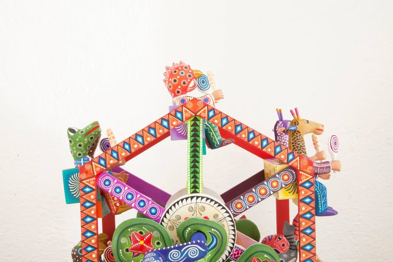 Mexican Folk Art Woodcarving Alebrijes Fortune Wheel Folkloric Art For Sale 1