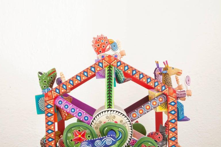 Mexican Folk Art Woodcarving Alebrijes Fortune Wheel Folkloric Art 6