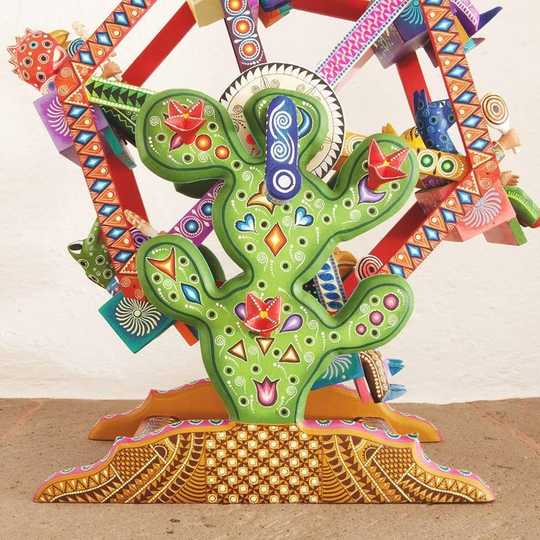 Mexican Folk Art Woodcarving Alebrijes Fortune Wheel Folkloric Art For Sale 2