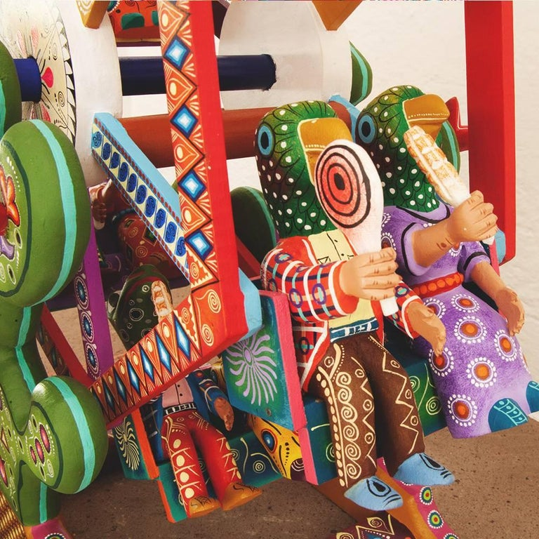 Mexican Folk Art Woodcarving Alebrijes Fortune Wheel Folkloric Art For Sale 3