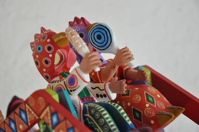 Mexican Folk Art Woodcarving Alebrijes Fortune Wheel Folkloric Art 9