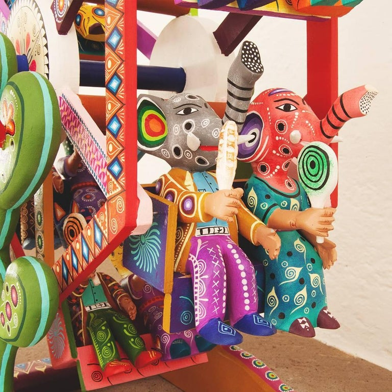 Mexican Folk Art Woodcarving Alebrijes Fortune Wheel Folkloric Art For Sale 5