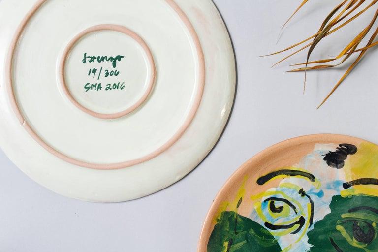 Enameled Majolica Potter Plate Set Handmade Mid-Century Modern Green Yellow Blue Face  For Sale
