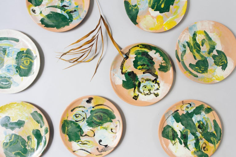 This majolica pottery plate collection was designed by Mexican sculptor, painter and ceramist Lorenzo Lorenzzo — made in his studio, in the colonial town of San Miguel de Allende, in the state of Guanajuato, Mexico. For this limited edition