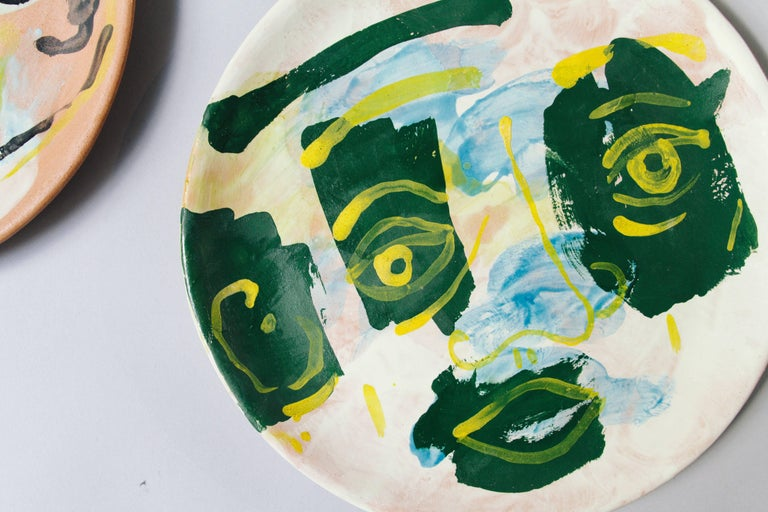 Mexican Majolica Potter Plate Set Handmade Mid-Century Modern Green Yellow Blue Face  For Sale