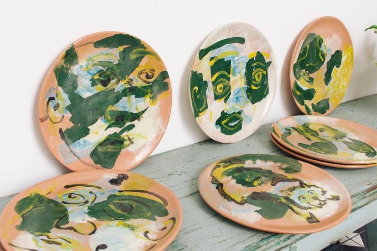 Majolica Potter Plate Set Handmade Mid-Century Modern Green Yellow Blue Face  In New Condition For Sale In Queretaro, Queretaro