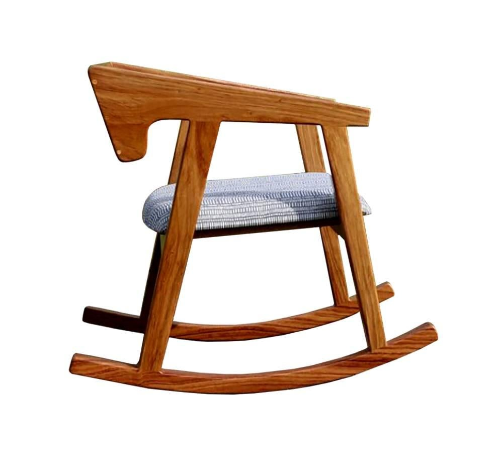 Modern Handmade Mexican Contemporary Conacaste Solid Wood Rocking Chair For  Sale