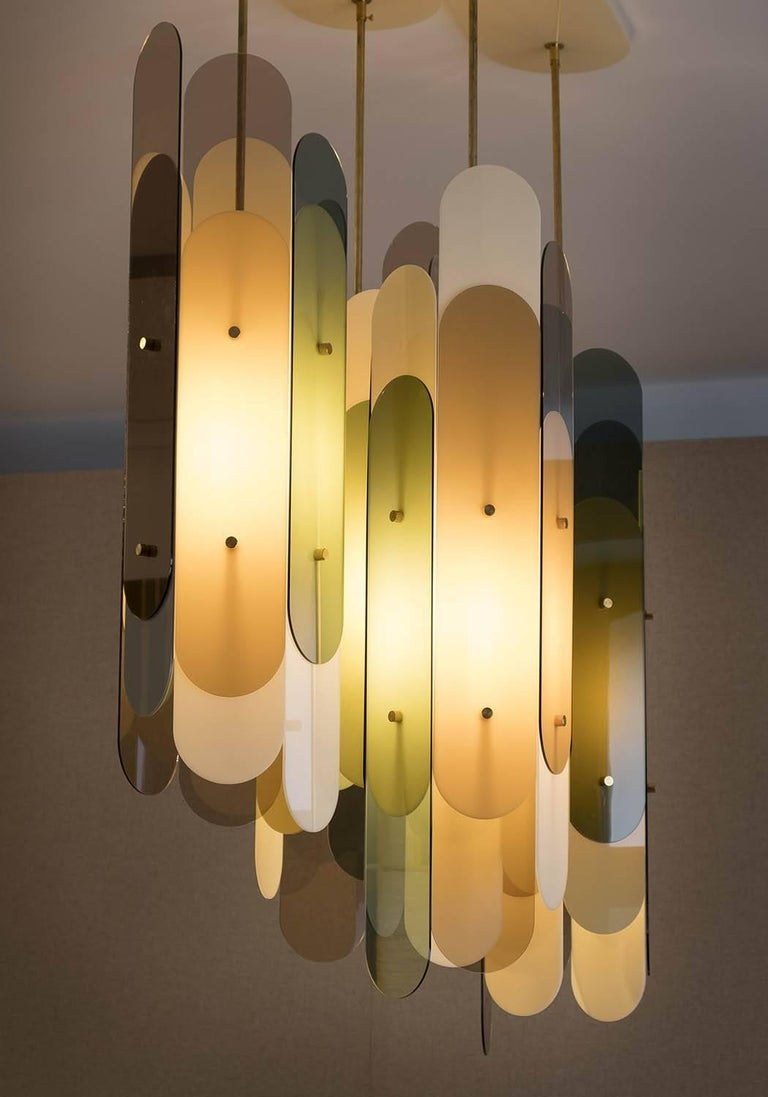 Danish Contemporary Chandelier STAFA in Brass and Plexiglass in various translucencies For Sale