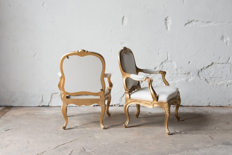 Rococo Pair of Swedish 19th Century Gilded Armchairs For Sale