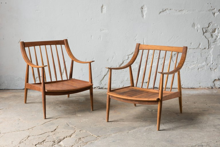 21th century lounge chairs in teak wood.  Hand sown cushions. Removable textile by Josef Franck / Svensk Tenn, Vegetable Tree.   Designed and branded by R+R Sweden.
