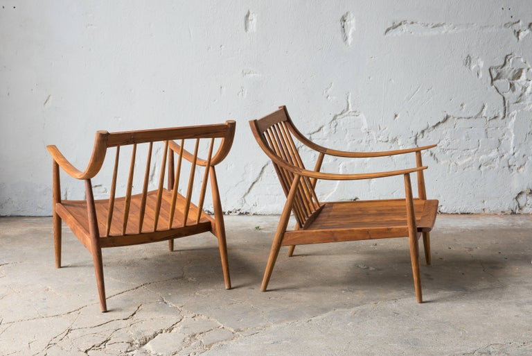 Modern 21th Century Lounge Chairs in Teak Wood For Sale