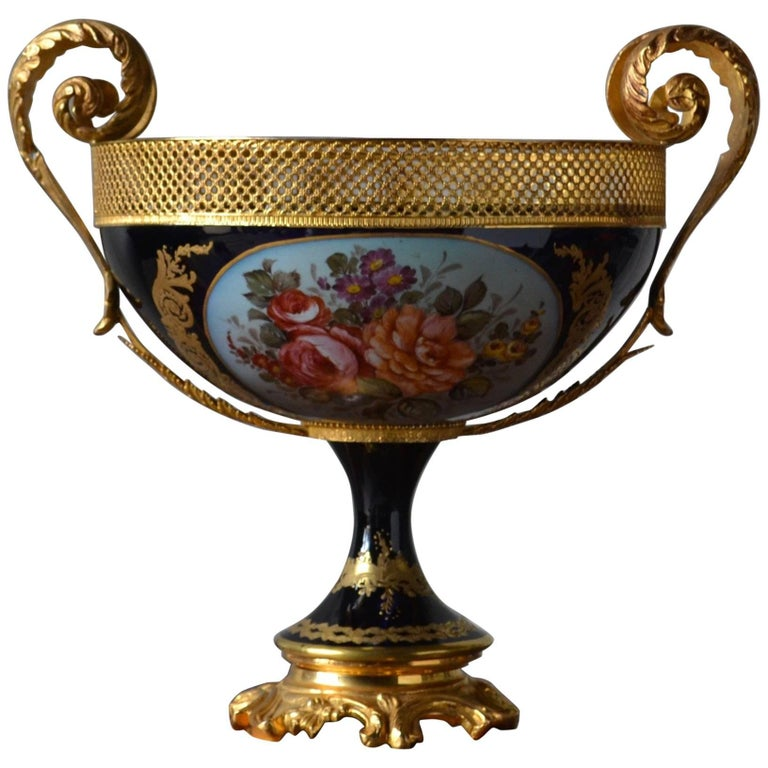 19th Century Sèvres French Hand-Painted Porcelain Jardiniére with Bronze Mounts